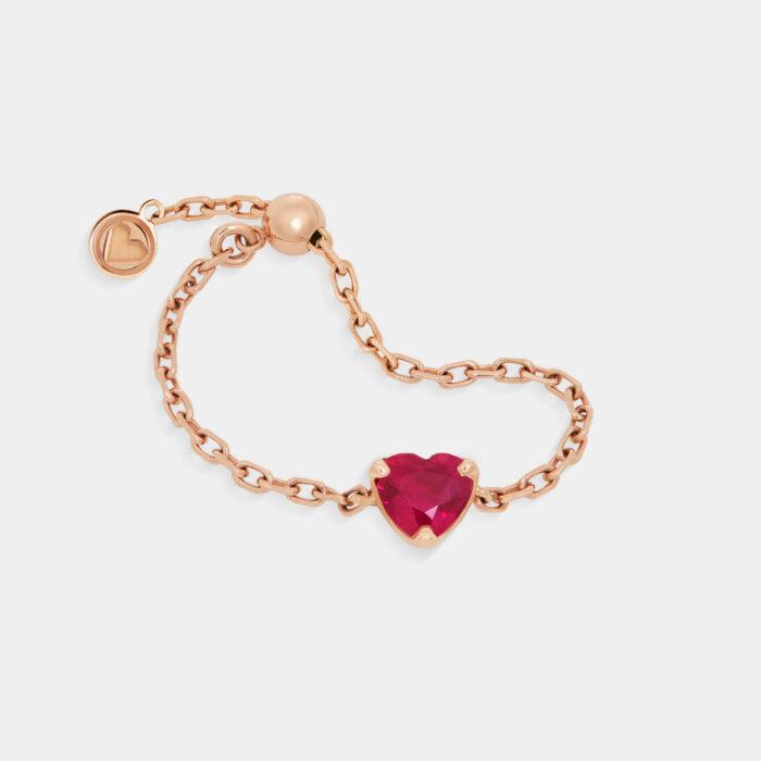 Rosanna Cattolico - Anello morbido in oro rosa e rubino taglio cuore