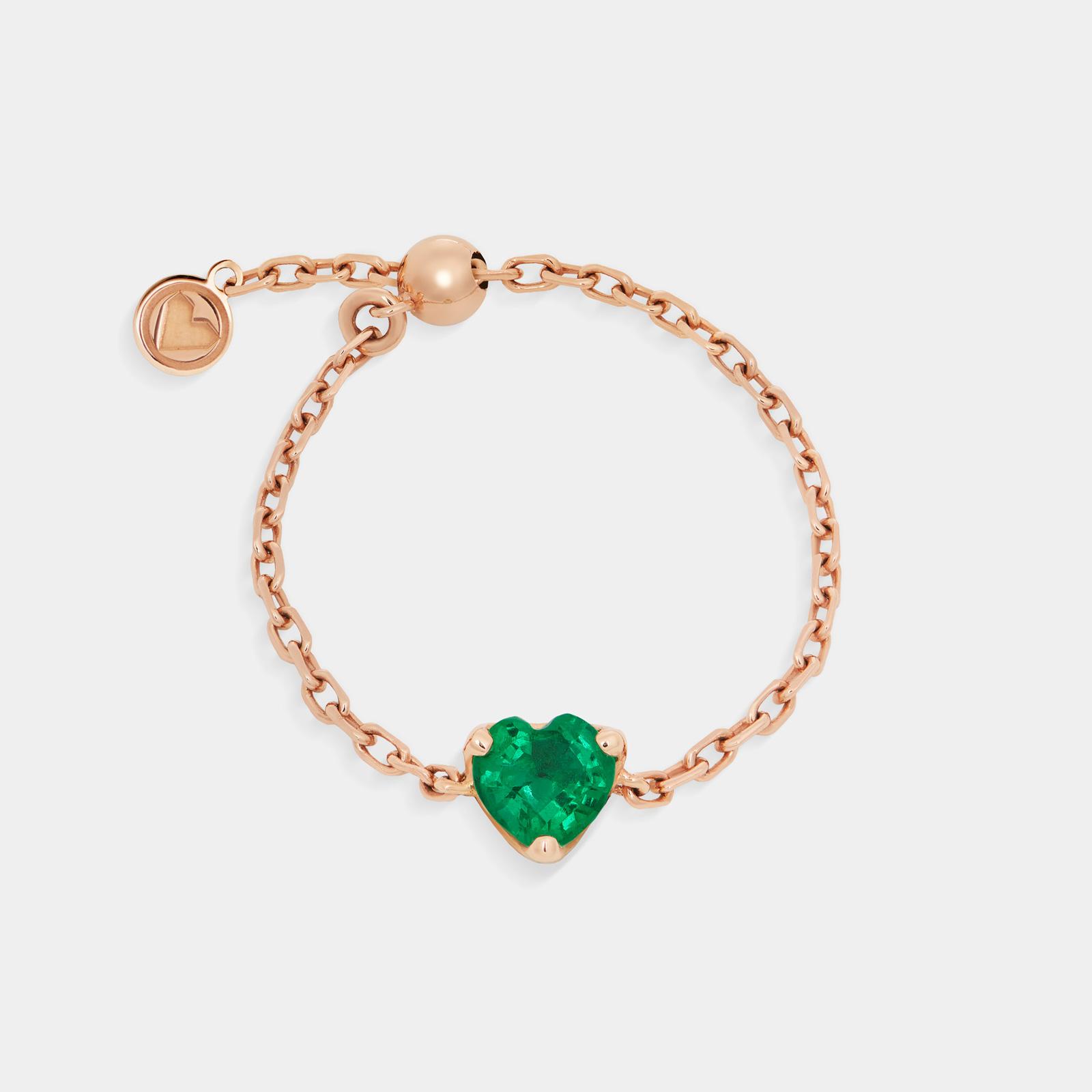 Rosanna Cattolico - Anello in oro rosa e smeraldo taglio cuore