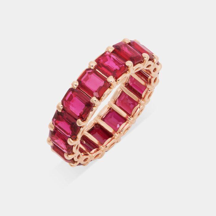 Crivelli - Girodito in oro rosa e rubini taglio ottagonale