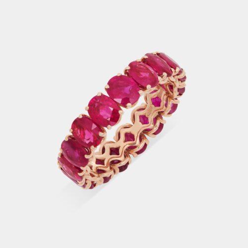 Crivelli - Girodito in oro rosa e rubini taglio ovale