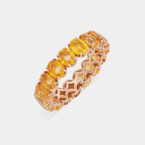 Crivelli - Girodito in oro rosa e zaffiri gialli taglio ovale