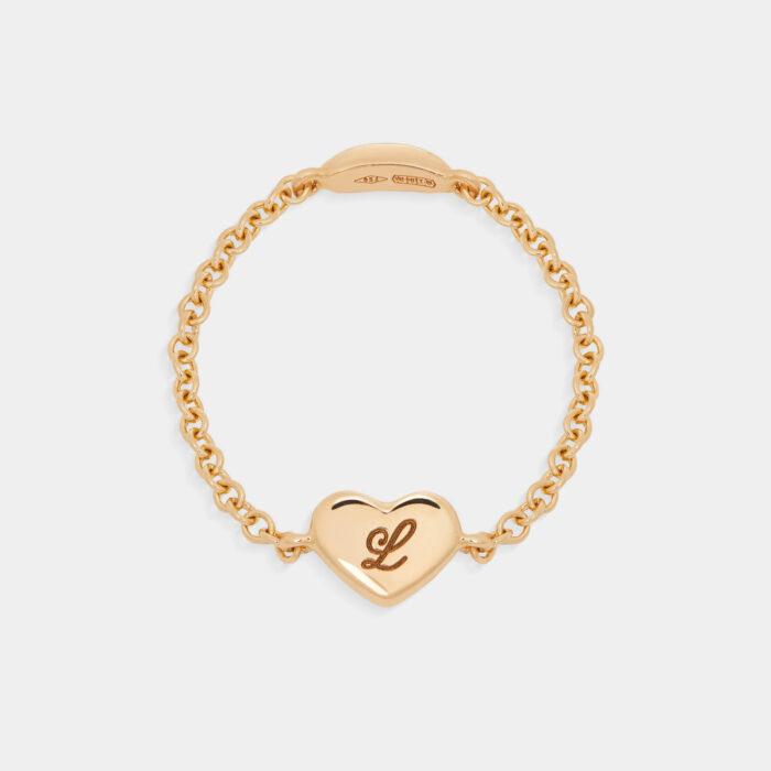 Rosanna Cattolico - Anello cuore in oro giallo personalizzabile con iniziale incisa