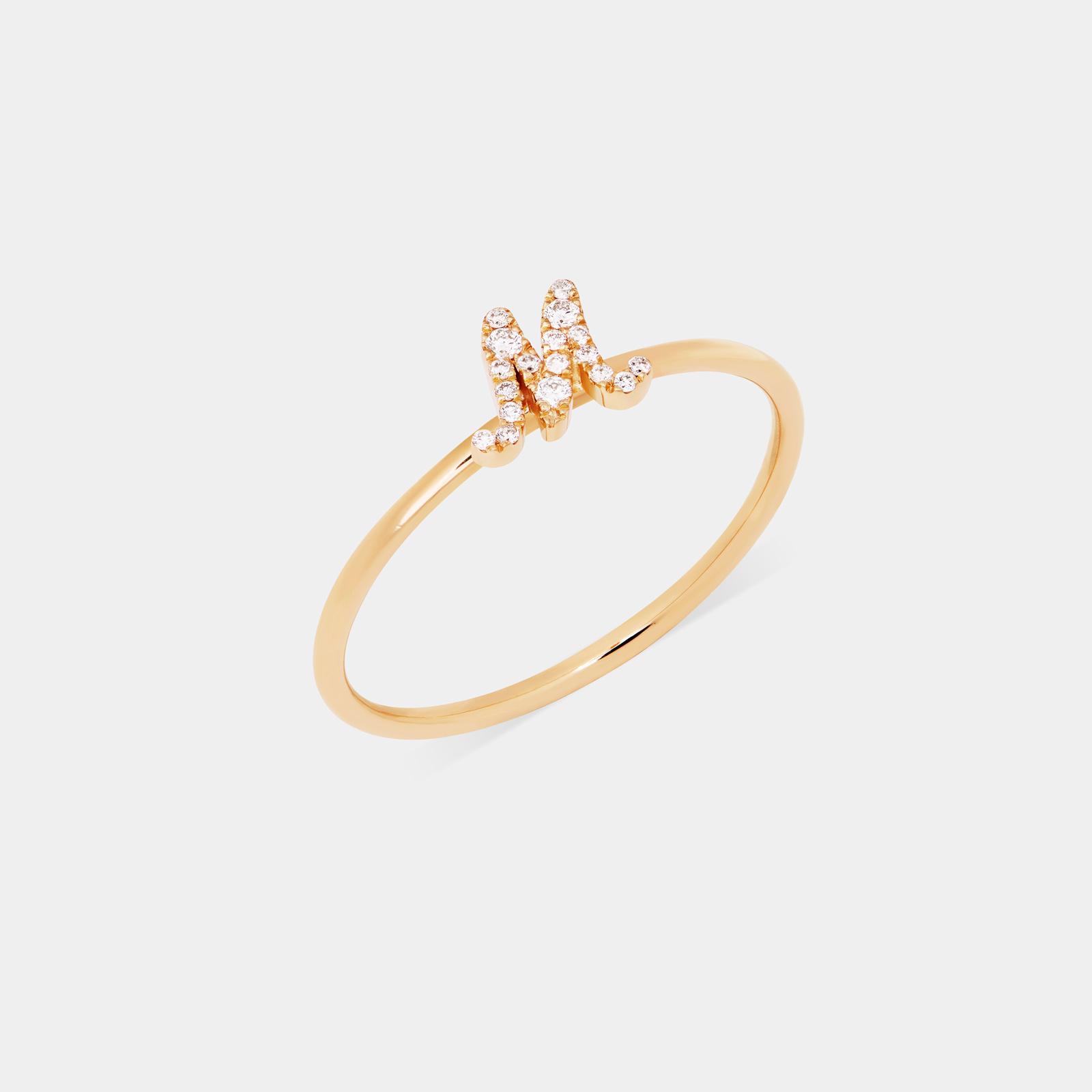 Rosanna Cattolico - Anello con letterina in oro giallo e diamanti