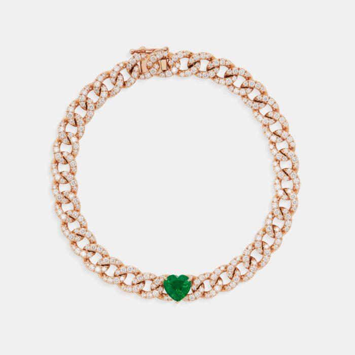 Crivelli - Bracciale in oro rosa, smeraldo cuore e diamanti