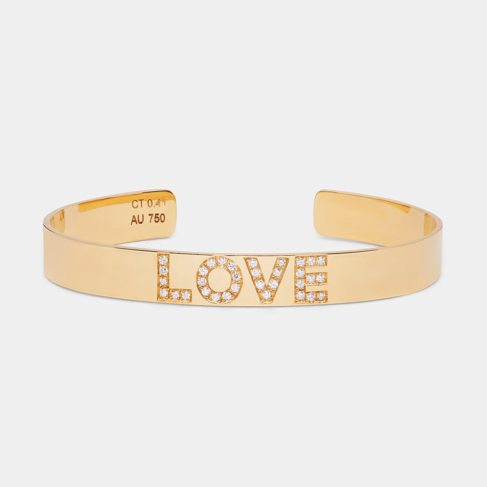 Rosanna Cattolico - Bracciale manetta aperta personalizzato in oro giallo e diamanti