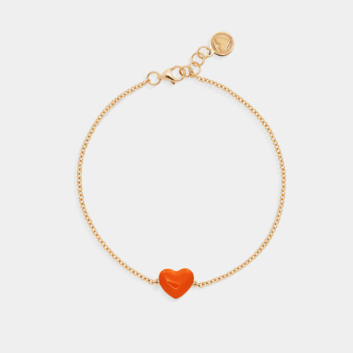 Rosanna Cattolico - Bracciale in oro giallo e cuore smaltato arancio
