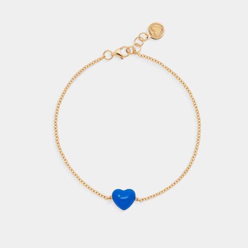 Rosanna Cattolico - Bracciale in oro giallo e cuore smaltato blu cobalto