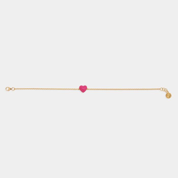 Rosanna Cattolico - Bracciale in oro giallo e cuore smaltato rosa shocking