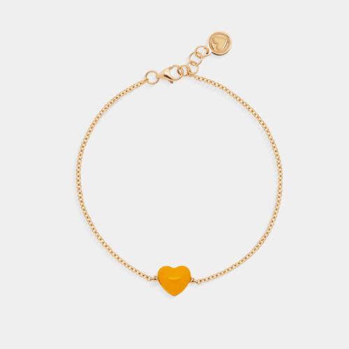 Rosanna Cattolico - Bracciale in oro giallo e cuore smaltato giallo ocra