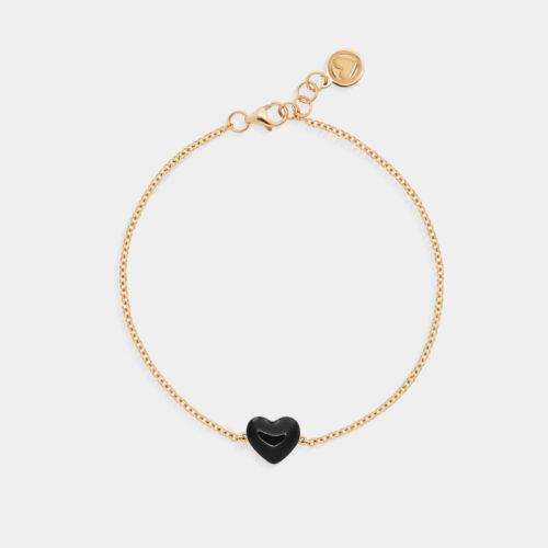Rosanna Cattolico - Bracciale in oro giallo e cuore smaltato puro nero