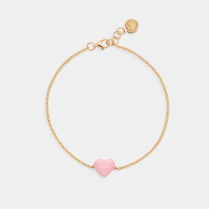 Rosanna Cattolico - Bracciale in oro giallo e cuore smaltato rosa cipria