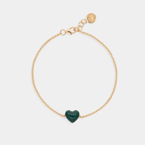 Rosanna Cattolico - Bracciale in oro giallo e cuore smaltato verde intenso