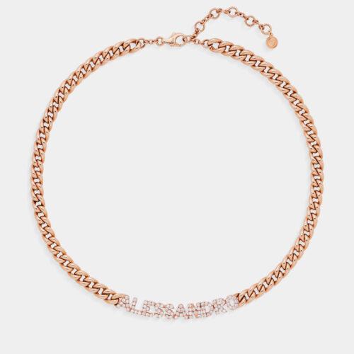 Rosanna Cattolico - Collana groumette in oro rosa con nome personalizzato ALESSANDRO in diamanti