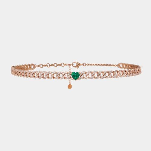 Rosanna Cattolico - Collana in oro rosa, smeraldo cuore e diamanti