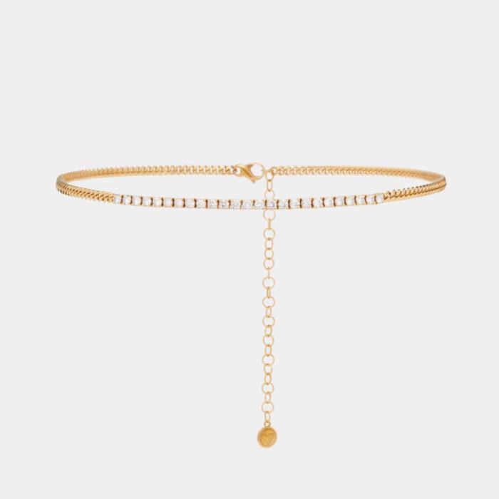 Rosanna Cattolico - Collana groumette piccola in oro giallo e tennis di diamanti