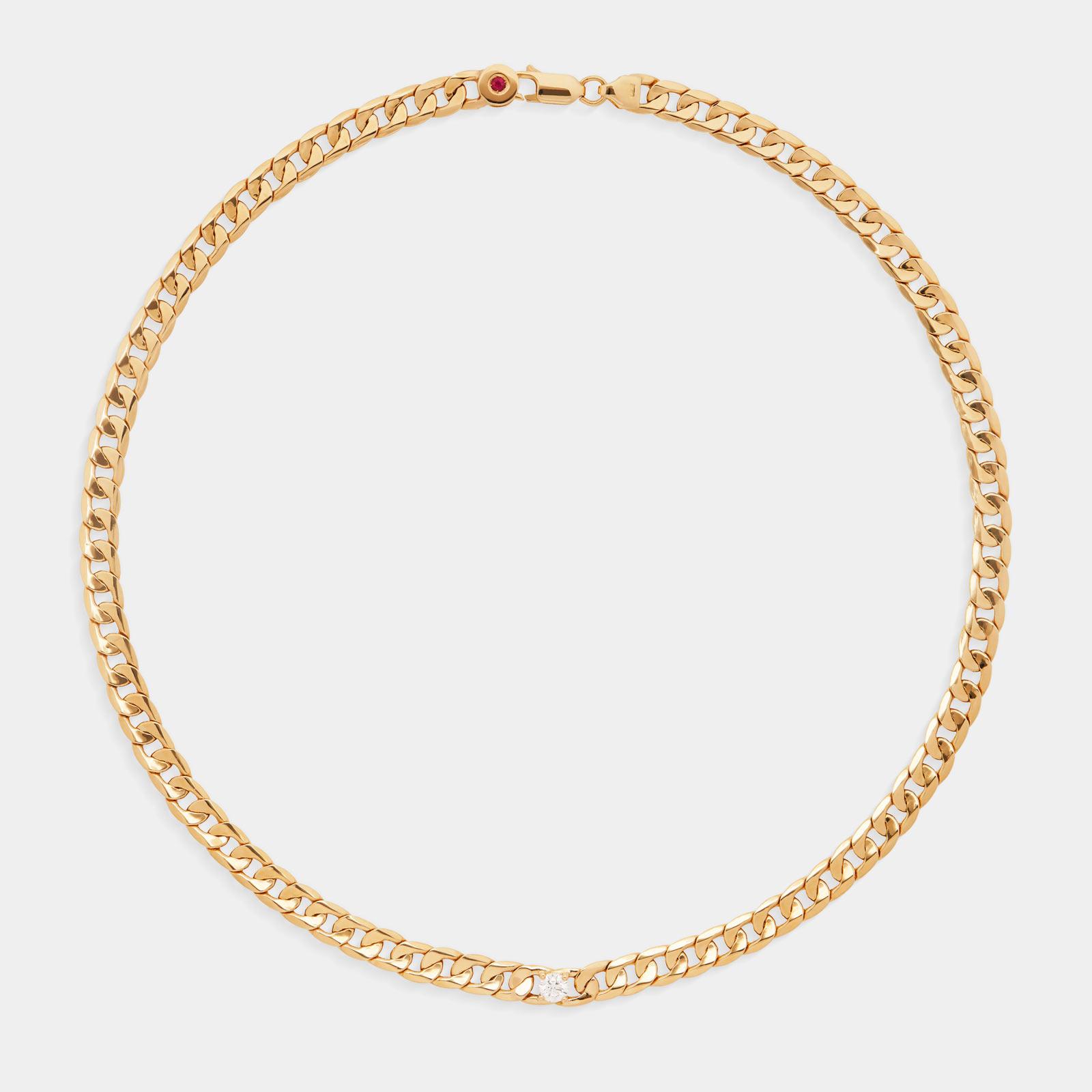 Rosanna Cattolico - Girocollo groumette in oro giallo, diamante e rubino