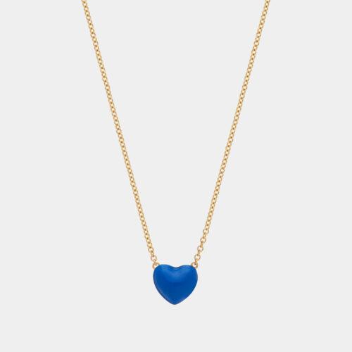 Rosanna Cattolico - Collana in oro giallo e cuore smaltato blu cobalto