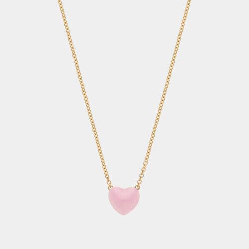 Rosanna Cattolico - Collana in oro giallo e cuore smaltato rosa cipria