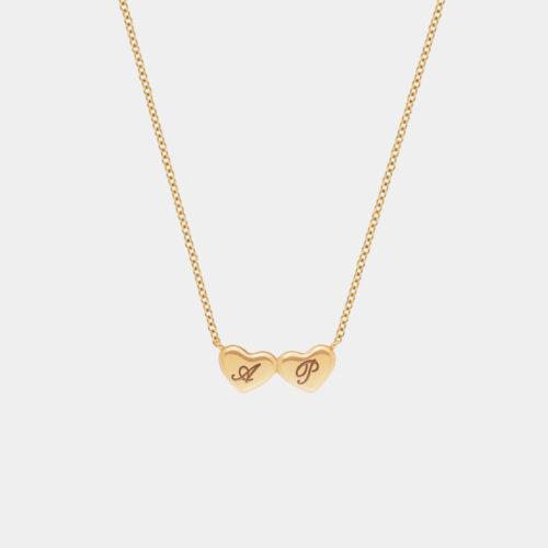 Rosanna Cattolico - Collana double hearts in oro giallo personalizzabile con iniziali incise