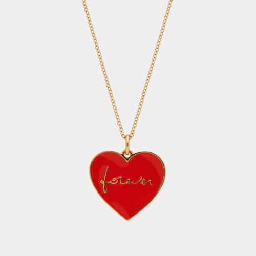Rosanna Cattolico - Collana in oro giallo e cuore smaltato rosso