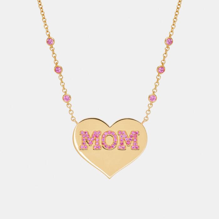 Rosanna Cattolico - Collana girocollo cuore personalizzato in oro giallo e zaffiri rosa