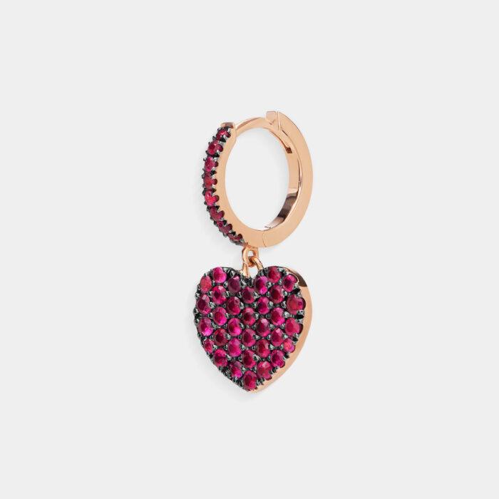 Crivelli - Mono orecchino cerchio con cuore pendente in oro rosa e rubini
