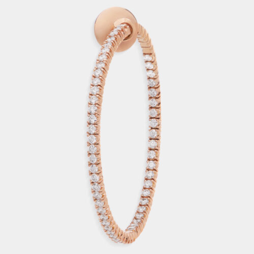 Crivelli - Mono orecchino cerchio 44 mm in oro rosa e diamanti