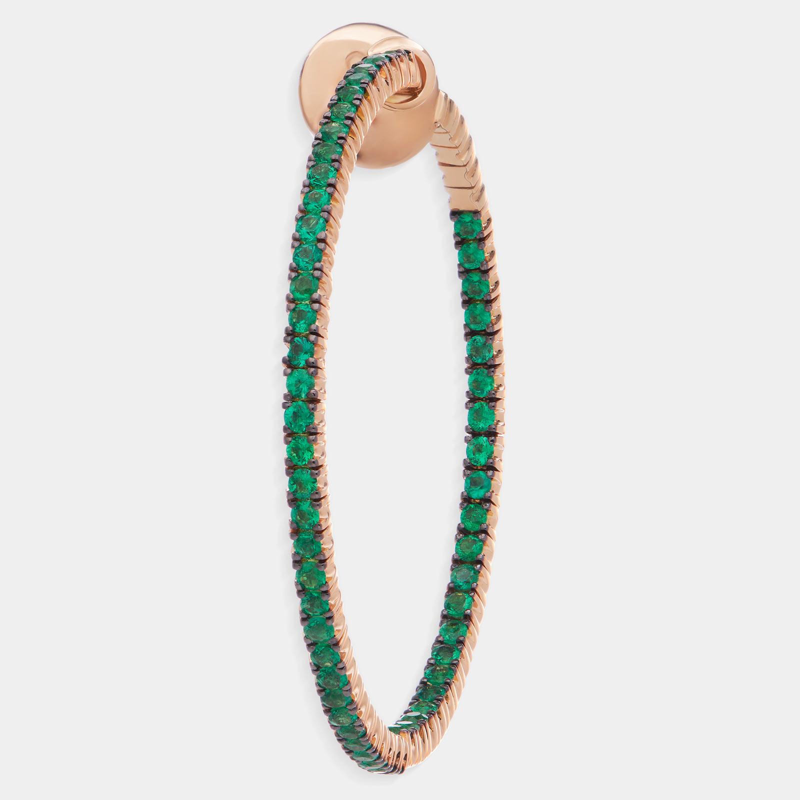 Crivelli - Mono orecchino cerchio 44 mm in oro rosa e smeraldi