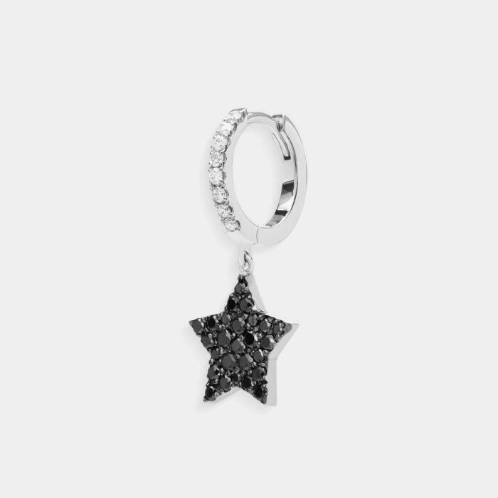 Crivelli - Mono orecchino cerchio con stella pendente in oro bianco, diamanti bianchi e diamanti neri