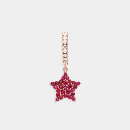 Crivelli - Mono orecchino cerchio con stella pendente in oro rosa, diamanti e rubini