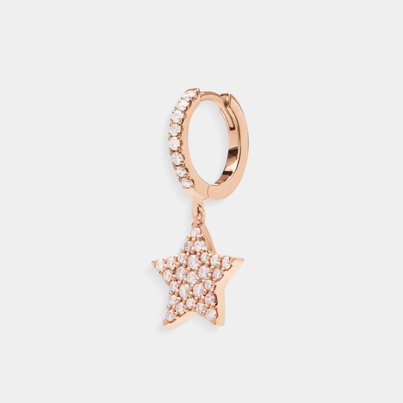 Crivelli - Mono orecchino cerchio con stella pendente in oro rosa e diamanti