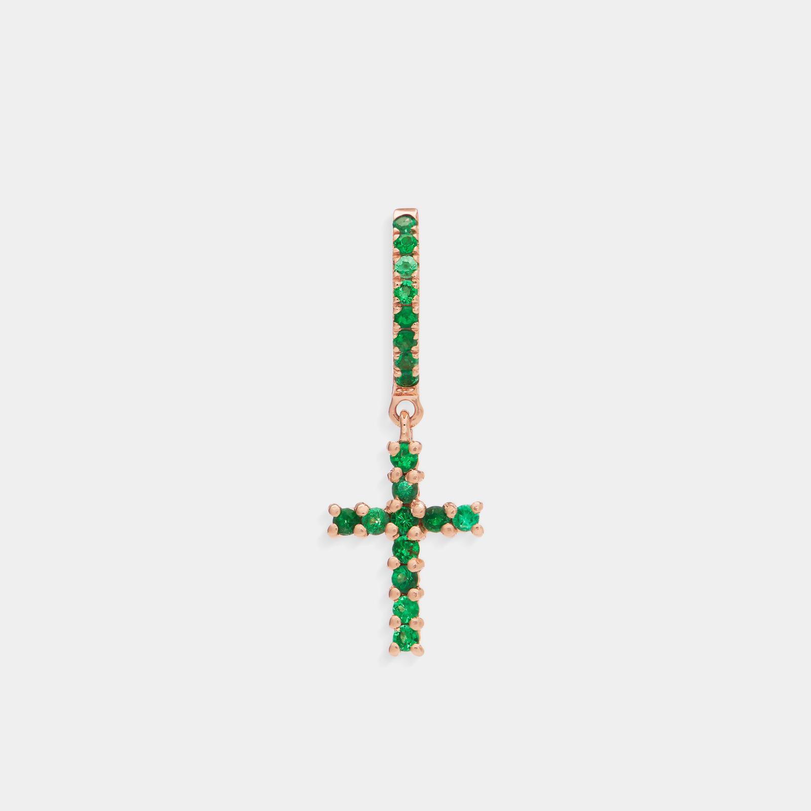 Crivelli - Mono orecchino pendente croce in oro rosa e smeraldi