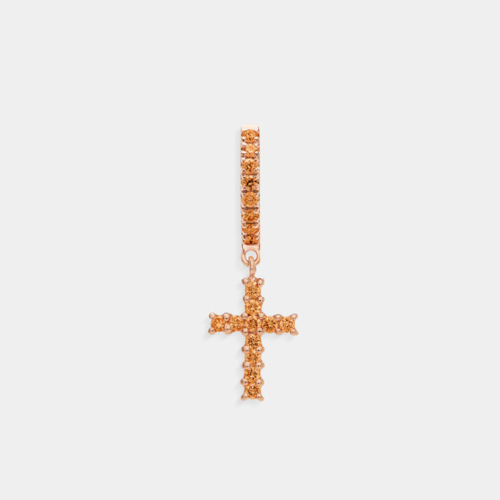Crivelli - Mono orecchino pendente croce in oro rosa e zaffiri orange