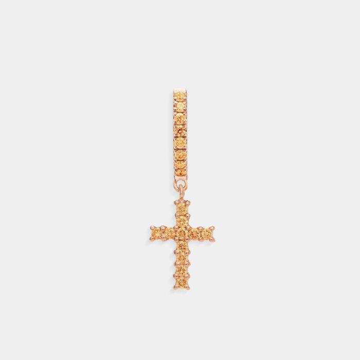 Crivelli - Mono orecchino pendente croce in oro rosa e zaffiri gialli
