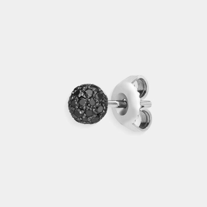 Crivelli - Mono orecchino in oro bianco con tondino di diamanti neri