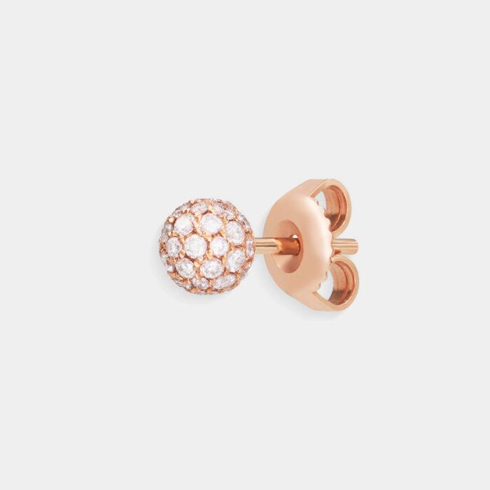 Crivelli - Mono orecchino in oro rosa con tondino di diamanti