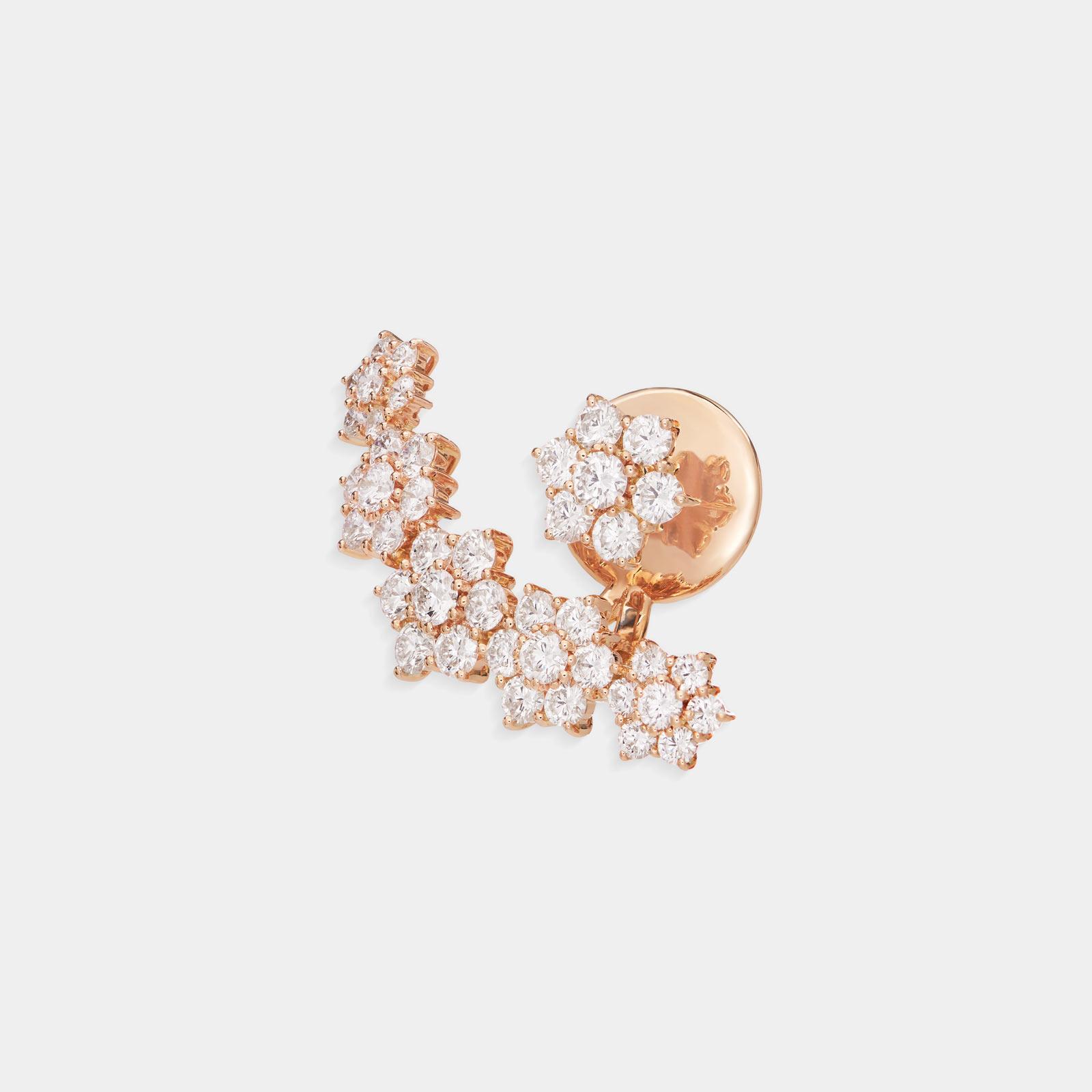 Crivelli - Mono orecchino earcuff in oro rosa con fiori in diamanti