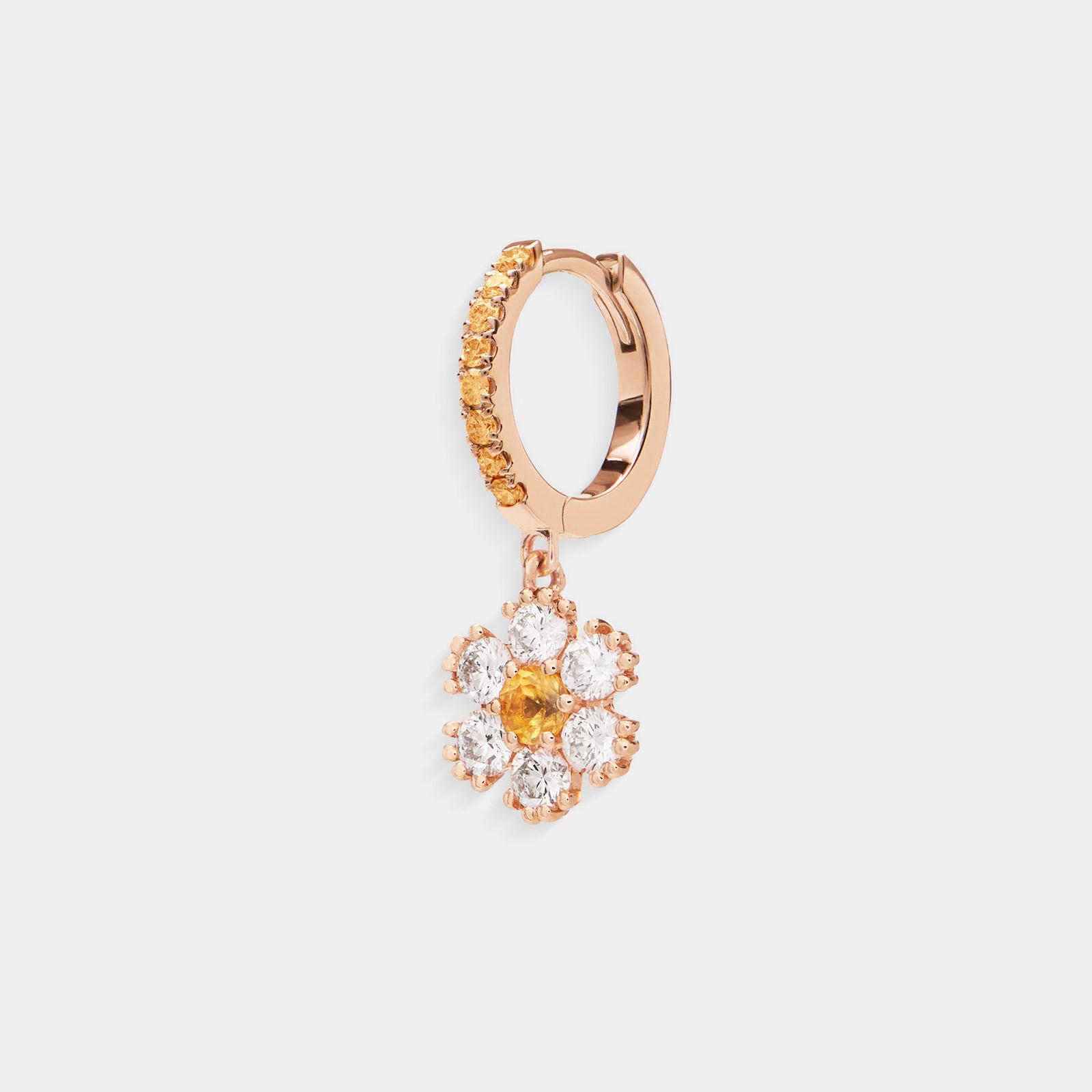 Crivelli - Mono orecchino cerchio in oro rosa con fiore di diamanti e zaffiri gialli