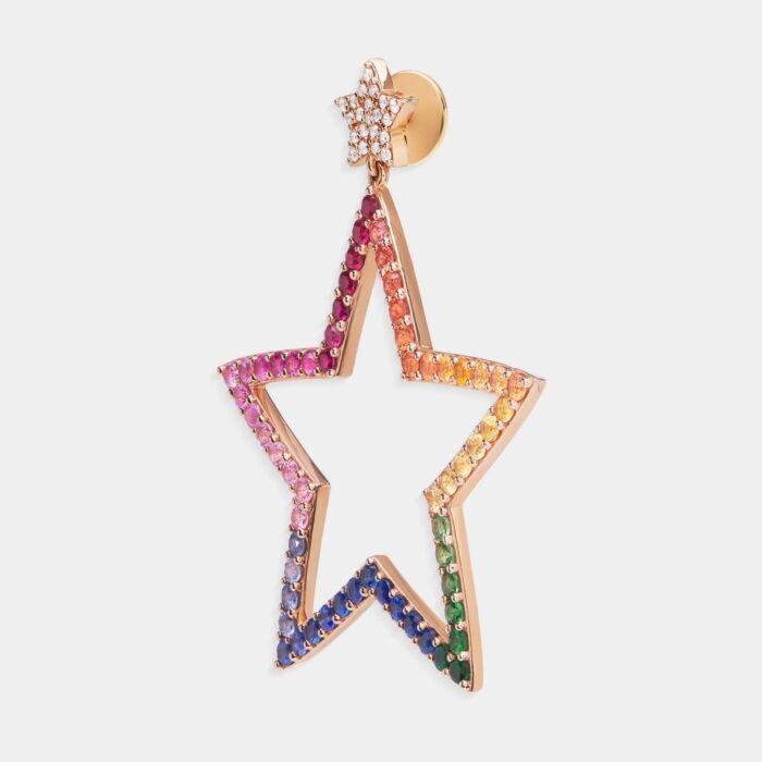 Crivelli - Mono orecchino in oro rosa con stelle in diamanti e zaffiri multicolor