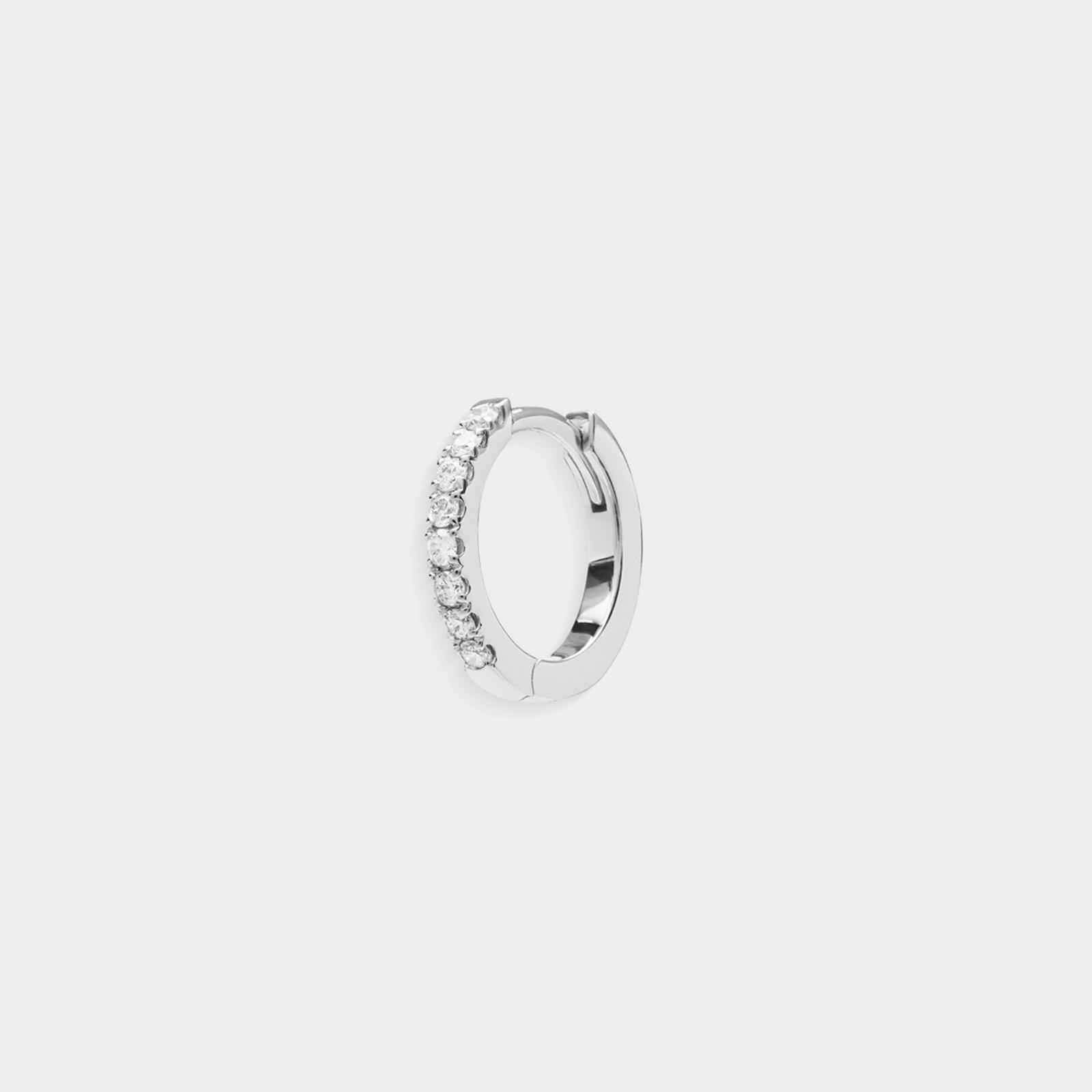 Crivelli - Mono orecchino cerchietto in oro bianco e diamanti