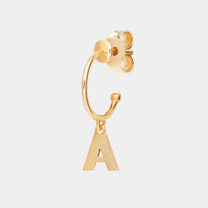 Rosanna Cattolico - Mono orecchino cerchietto in oro giallo con letterina pendente