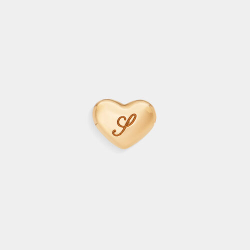 Rosanna Cattolico - Mono orecchino cuore in oro giallo personalizzabile con iniziale incisa