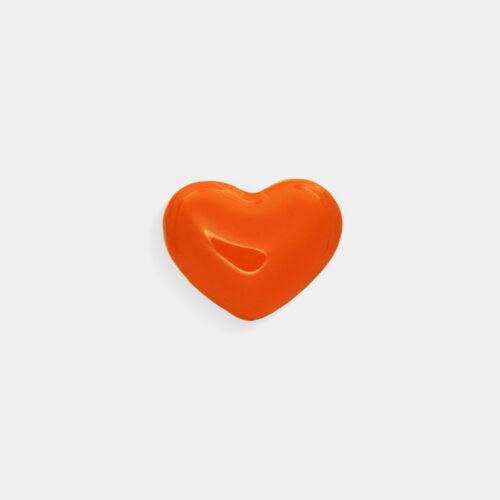 Rosanna Cattolico - Mono orecchino in oro giallo e cuore smaltato arancio