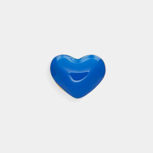 Rosanna Cattolico - Mono orecchino in oro giallo e cuore smaltato blu cobalto