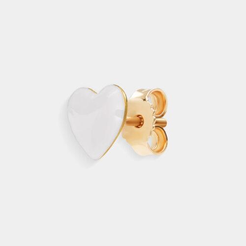 Rosanna Cattolico - Mono orecchino in oro giallo e cuore smaltato bianco