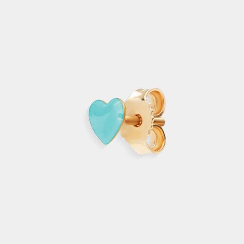 Rosanna Cattolico - Mono orecchino in oro giallo e cuore smaltato verde acqua