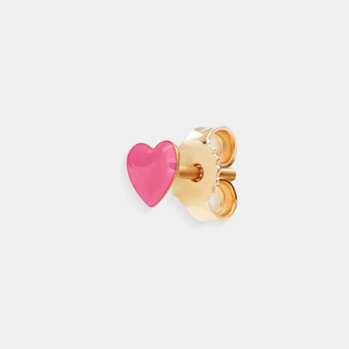 Rosanna Cattolico - Mono orecchino in oro giallo e cuore smaltato rosa shocking