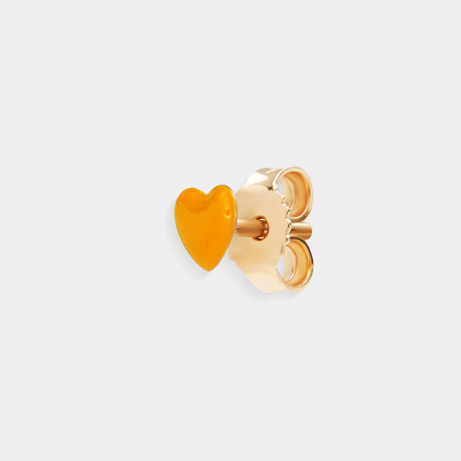 Rosanna Cattolico - Mono orecchino in oro giallo e cuore smaltato giallo ocra