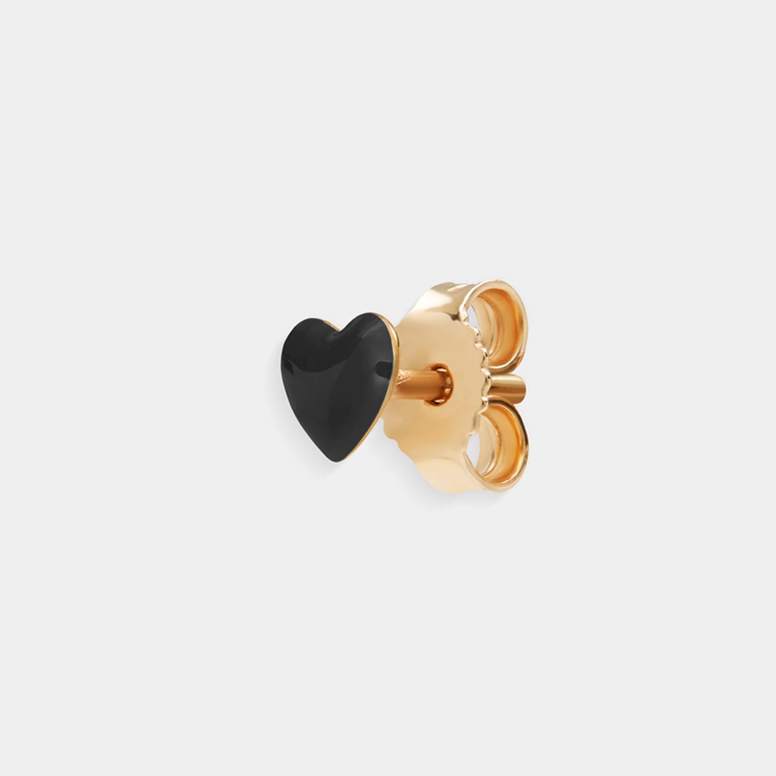 Rosanna Cattolico - Mono orecchino in oro giallo e cuore smaltato puro nero