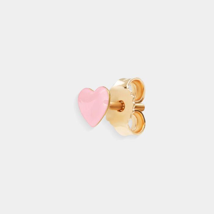 Rosanna Cattolico - Mono orecchino in oro giallo e cuore smaltato rosa cipria